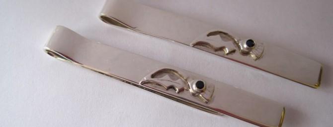 Silver tie pins